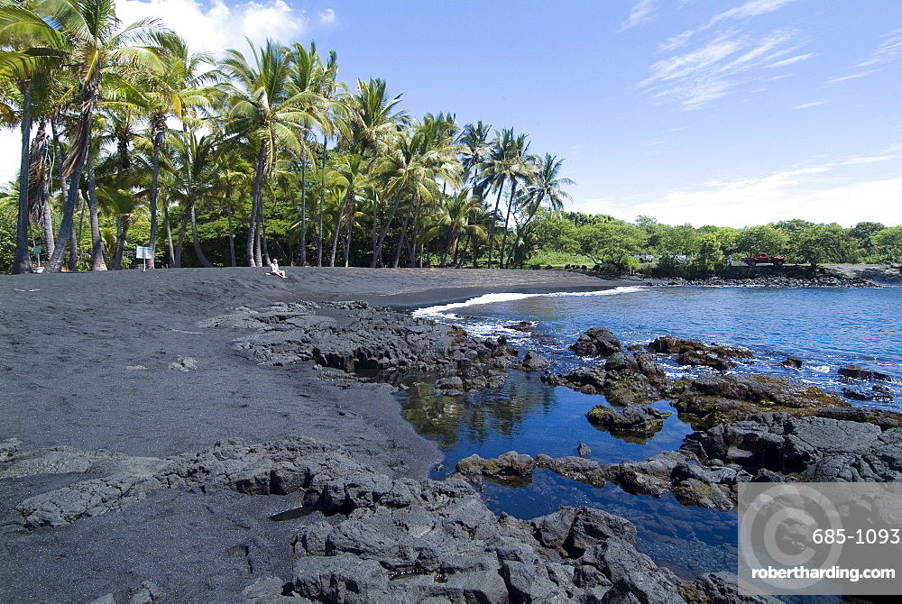 Punaluu Black Sand Beach, Island of Hawaii (Big Island), Hawaii, United States of America, Pacific, North America