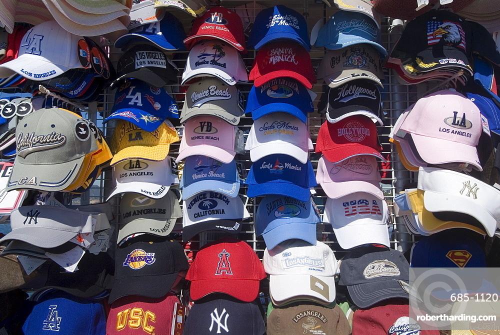 Baseball caps for sale, Santa Monica Pier, Santa Monica, California, United States of America, North America