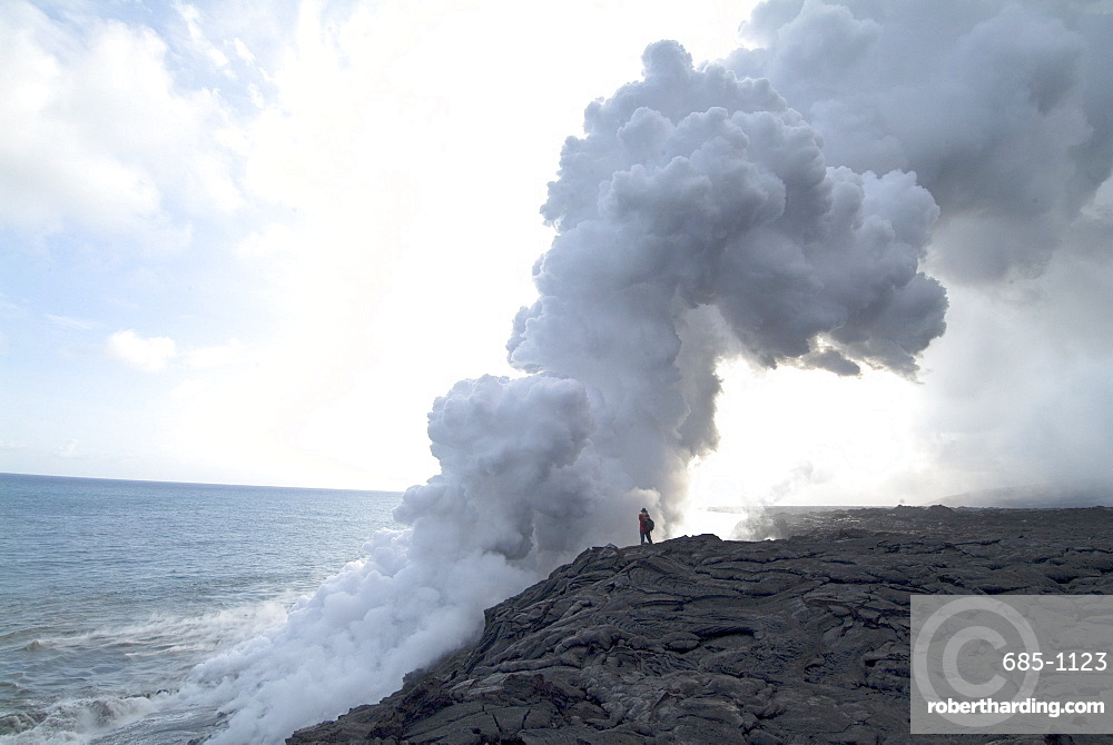 Plumes of steam where the lava reaches the sea, Kilauea Volcano, Hawaii Volcanoes National Park, UNESCO World Heritage Site, Island of Hawaii (Big Island), Hawaii, United States of America, Pacific, North America