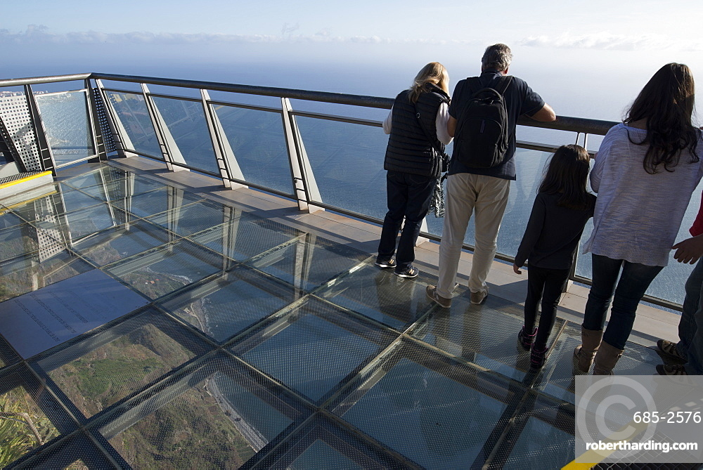 View down to the sea from the platform at Cabo Girao, the second highest cliff in the world at 589 metres, Madeira, Portugal, Atlantic, Europe