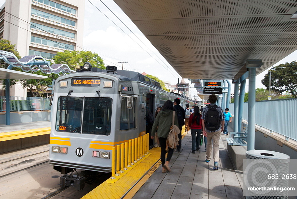 Exposition Park station Metro train, part of Los Angeles's new public transport system, Los Angeles, California, United States of America, North America