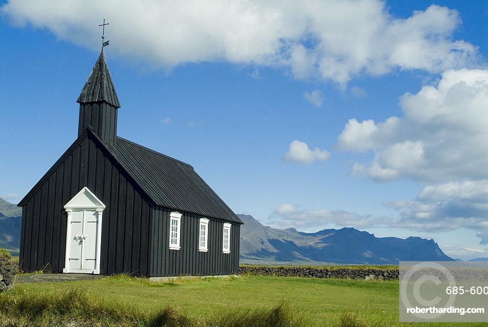 Small local church, Budir, Iceland, Polar Regions