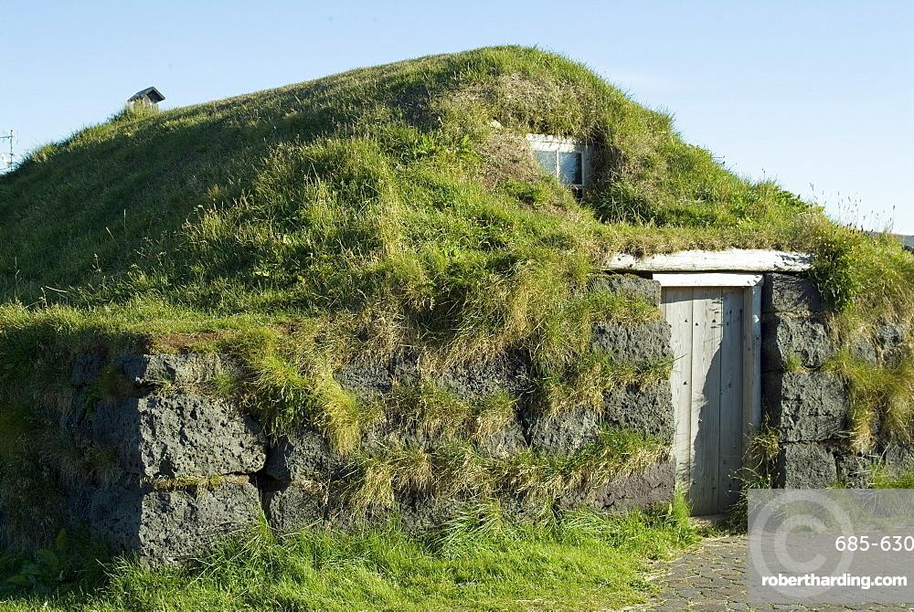 Traditional turf house, Eyrabakki, Iceland, Polar Regions