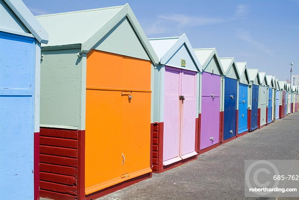 Beach huts, Hove, Sussex, England, United Kingdom, Europe