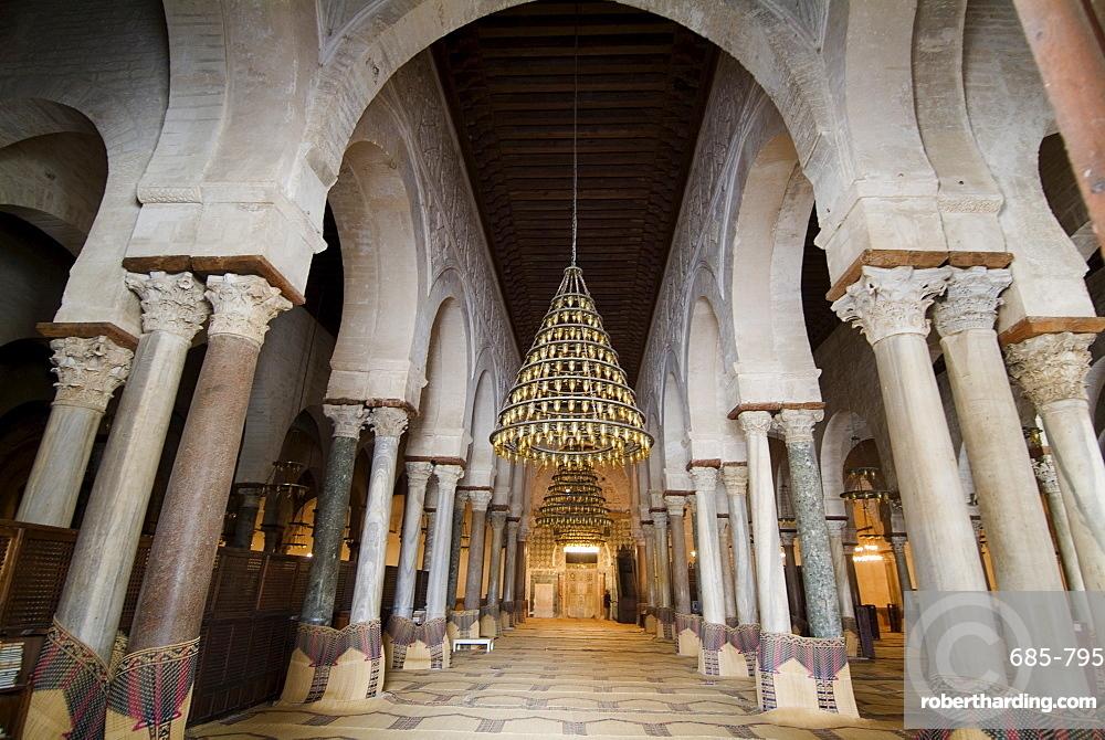 Interior, Mosque Okba (the Great Mosque), Kairouan, UNESCO World Heritage Site, Tunisia, North Africa, Africa