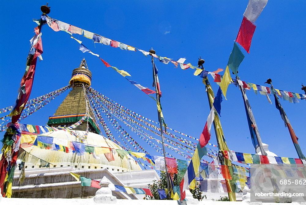 Boudhanath (Bodhnath) Stupa, UNESCO World Heritage Site, Kathmandu, Nepal, Asia