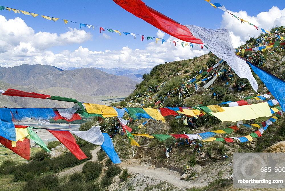 Prayer flags, Ganden Monastery, near Lhasa, Tibet, China, Asia
