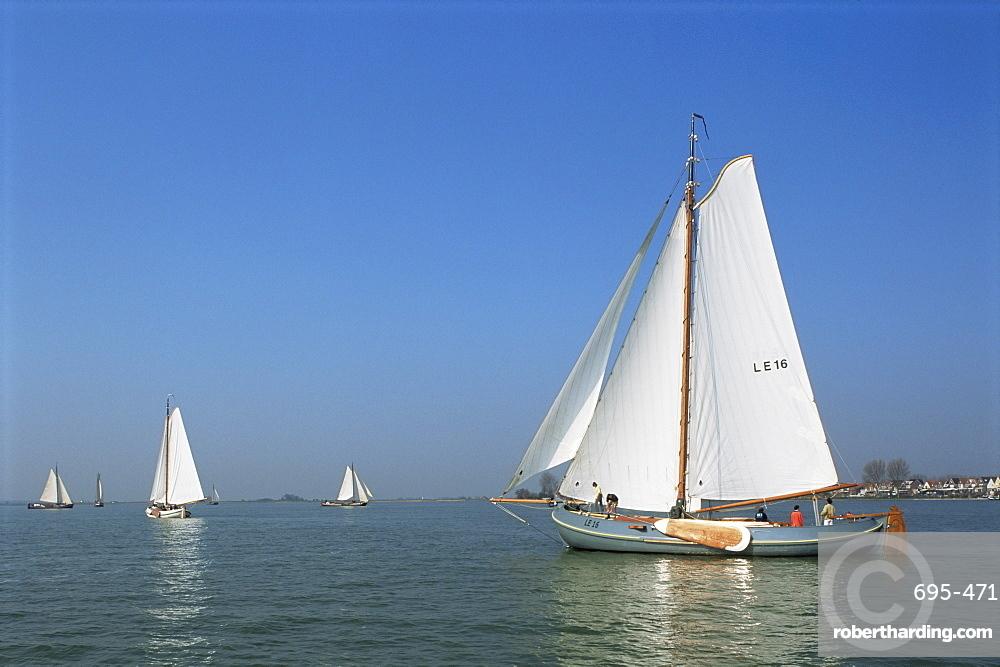Sailing boats, Volendam, Holland, Europe