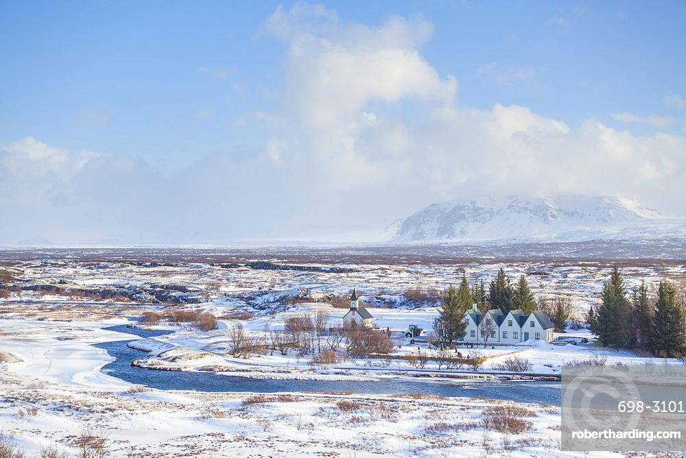 Thingvallabaer and River Oxara, Thingvellir National Park, UNESCO World Heritage Site, Iceland, Polar Regions