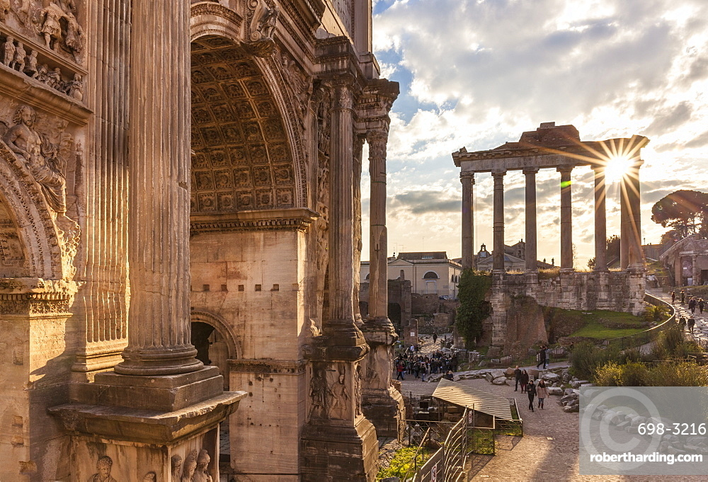 The Arch of Septimius Severus and The Temple of Saturn in the Roman Forum, UNESCO World Heritage Site, Rome, Lazio, Italy, Europe