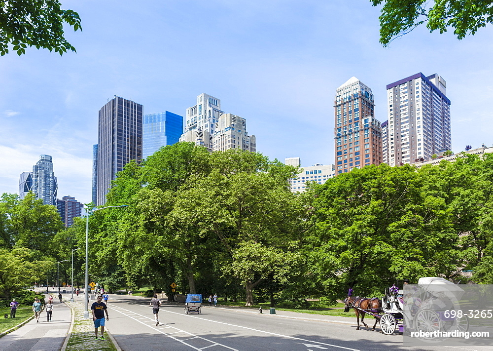 Tourists on a carriage ride, West Drive, Central Park, Manhattan skyscrapers, New York skyline, New York, United States of America, North America