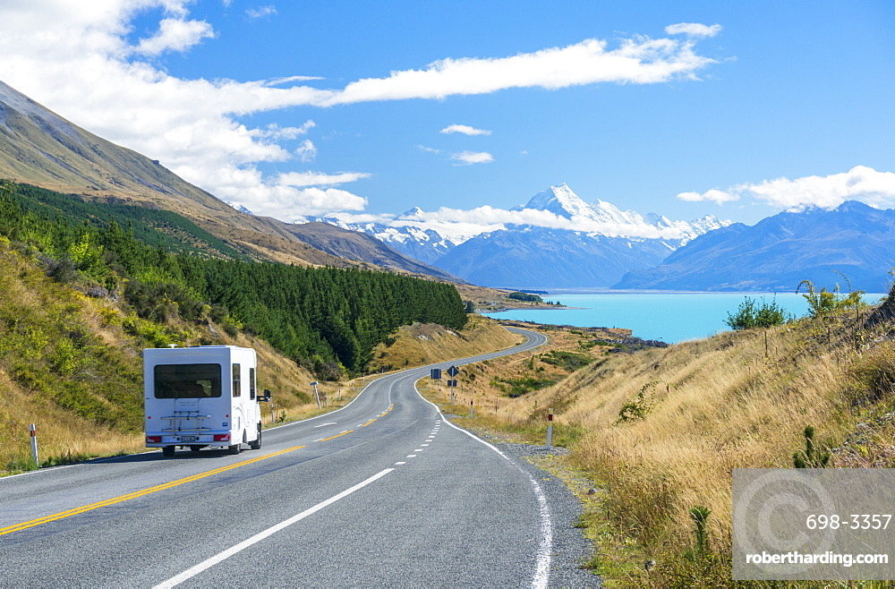 Motorhome (camper van) on a winding road to Mount Cook, Mount Cook National Park, Lake Pukaki, UNESCO World Heritage Site, South Island, New Zealand, Pacific