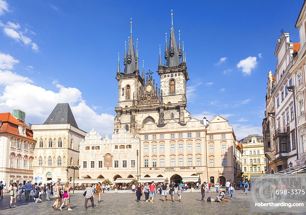 The Church of Our Lady Before Tyn in the busy Old Town Square (Staromestske namesti), UNESCO World Heritage Site, Prague, Czech Republic, Europe