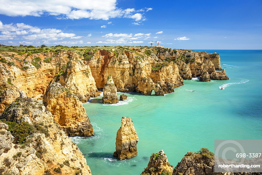 Ponta da Piedade rock formations visited by boat tours, Lagos, Algarve, Portugal, Europe