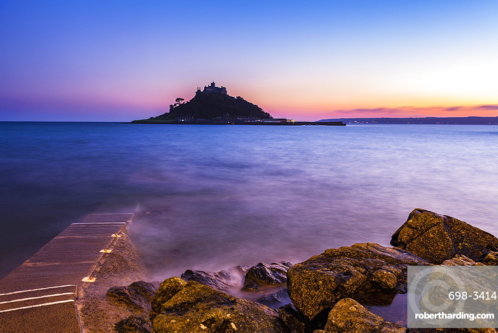 St. Michael's Mount Castle at sunset, Mount's Bay, Marazion, Cornwall, England, United Kingdom, Europe
