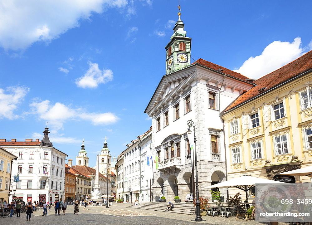 Ljubljana Town Square in front of the Ljubljana Town Hall (Stritarjeva ulica), Old Town, Ljubljana, Slovenia, Europe
