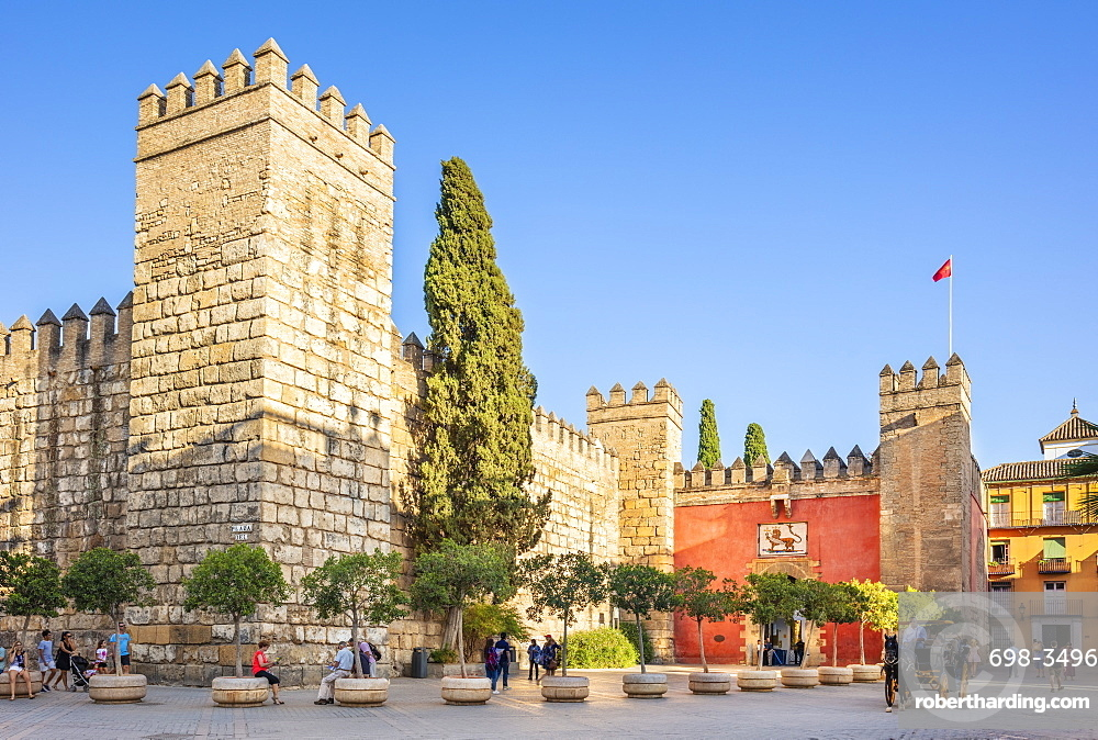 Entrance to the Alcazar Palace (Real Alcazar), UNESCO World Heritage Site, Seville, Andalusia, Spain, Europe