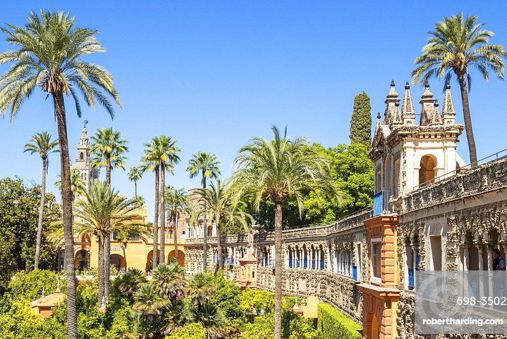 Galeria de Grutesco and the Portal of the Privilege in the Gardens of the Real Alcazar, UNESCO World Heritage Site, Seville, Andalusia, Spain, Europe