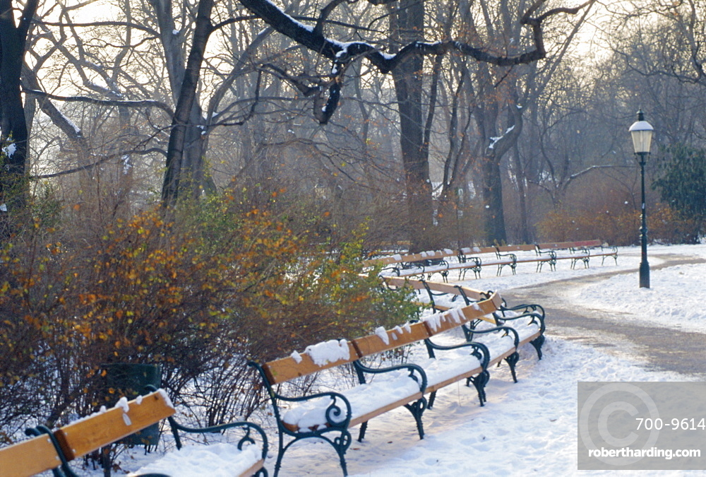 A snow covered park in Vienna in Winter, Austria
