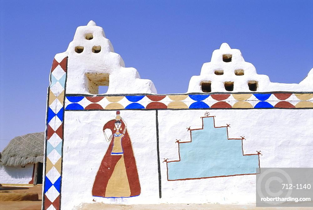 Painted village building, Jaisalmer, Rajasthan, India, Asia