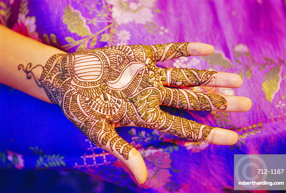 Woman's hand decorated with henna, Rajasthan, India