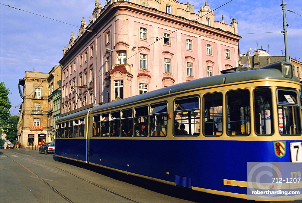 Tram in the old town, Cacovie, Poland