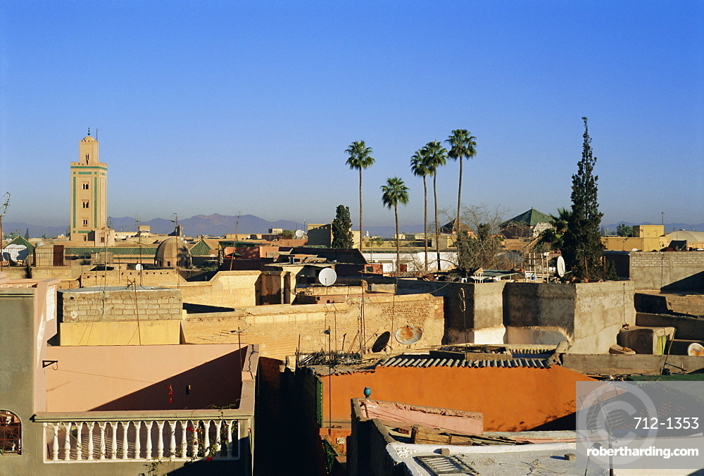 View over Marrakech (Marrakesh) with the High Atlas beyond, Morocco, Africa