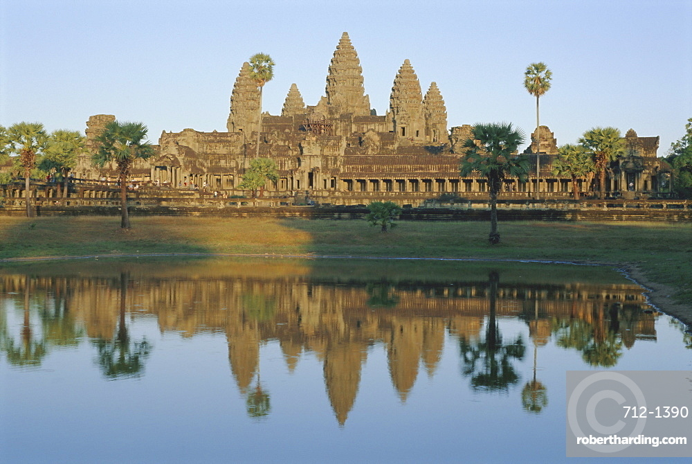 The Temple of Angkor Wat reflected in the lake, Angkor, Siem Reap, Cambodia, Indochina, Asia