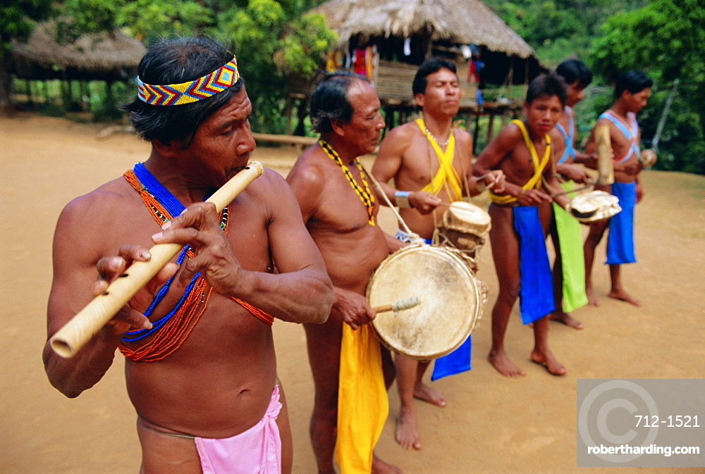 Embera Indian musicians, Chagres National Park, Panama, Central America