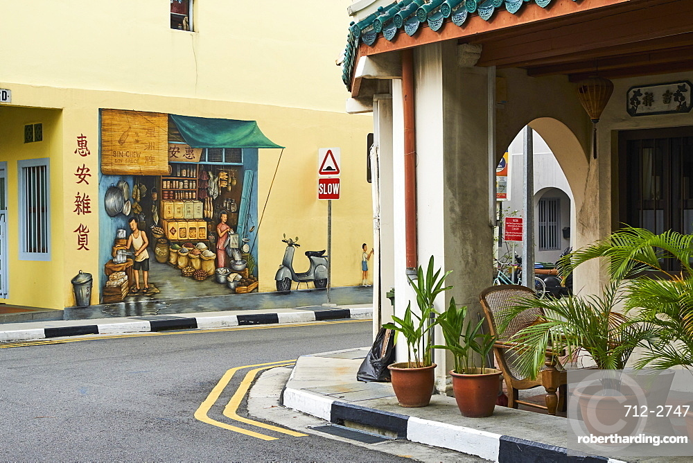 Wall painting Chinatown, Singapore, Southeast Asia, Asia