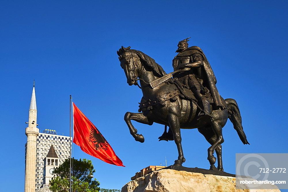 Skanderbeg Square and statue, Tirana, Albania, Europe