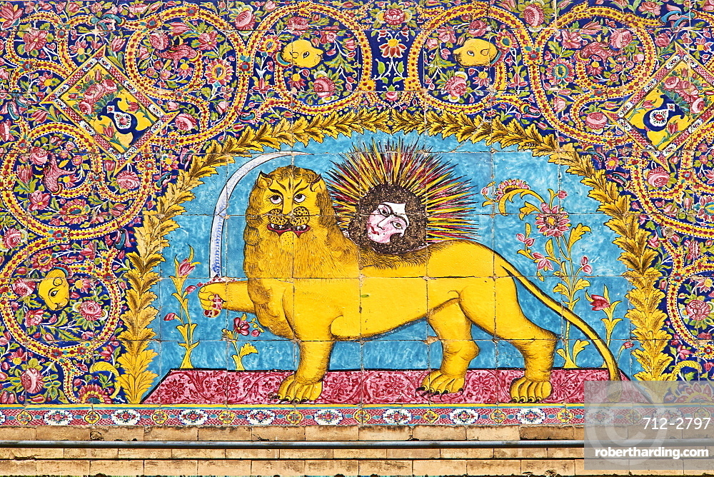 Tile decorations, Golestan Palace, UNESCO World Heritage Site, Tehran, Iran, Middle East