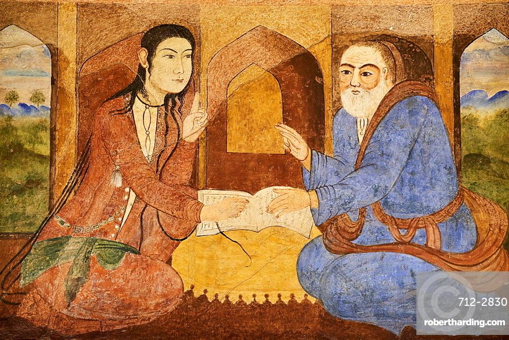 Safavid era painting, Chehel Sotun Palace, Isfahan, Iran, Middle East