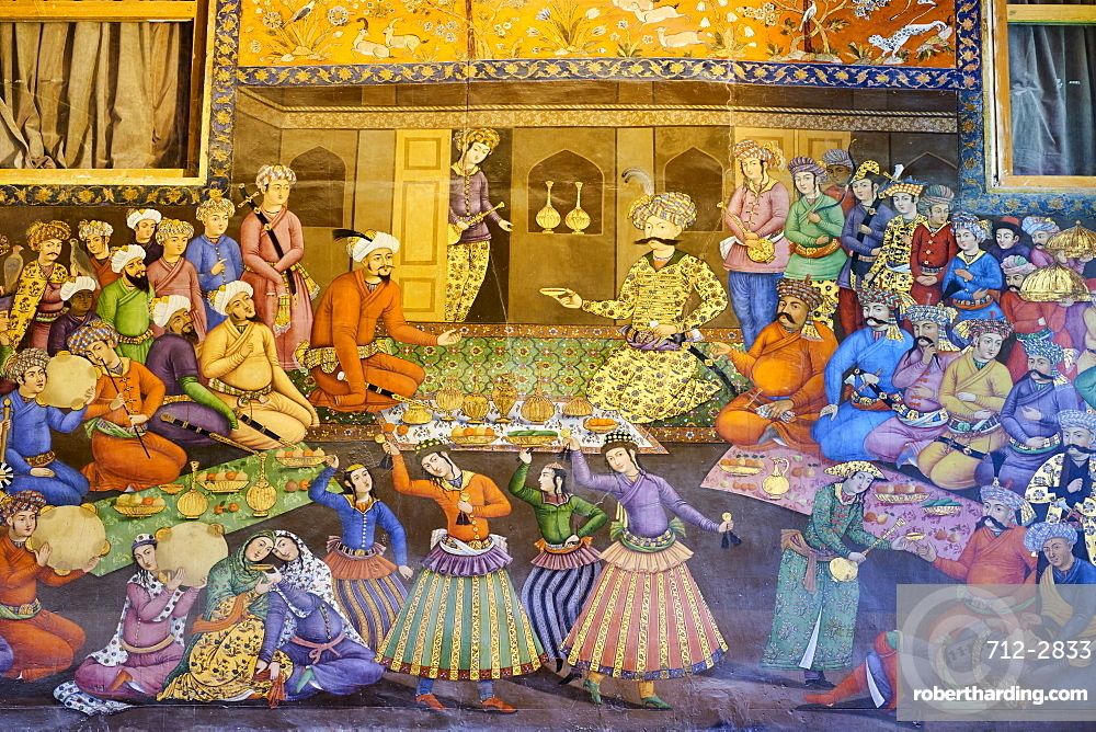 The Great Hall (Throne Hall) painting, the reception of Shah Abbas I for Vali Mohammad Khan, Chehel Sotun Palace, Isfahan, Iran, Middle East