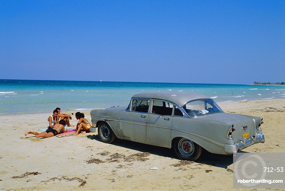 1950's American car on the beach, Goanabo, Cuba, Caribbean Sea, Central America