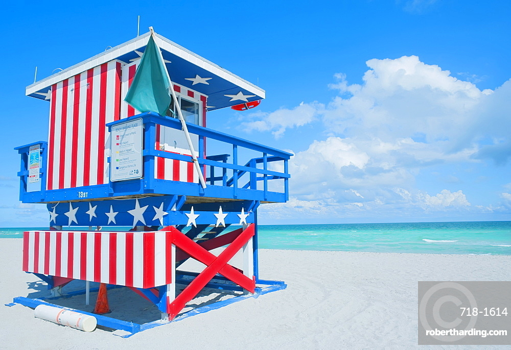 Lifeguard hut on beach, South Beach, Miami, Florida, United States of America, North America