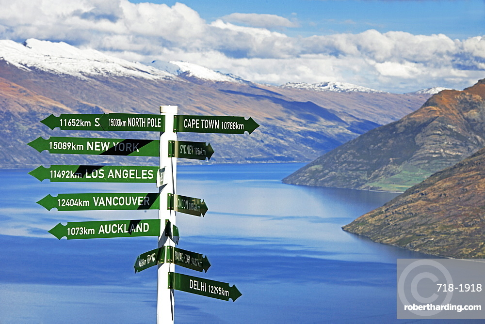 All directions sign post, Queenstown, Otago, South Island, New Zealand, Pacific