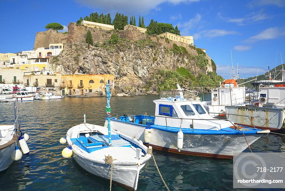 Marina Corta harbor, Lipari Island, Aeolian Islands, UNESCO World Heritage Site, Sicily, Italy, Mediterranean, Europe
