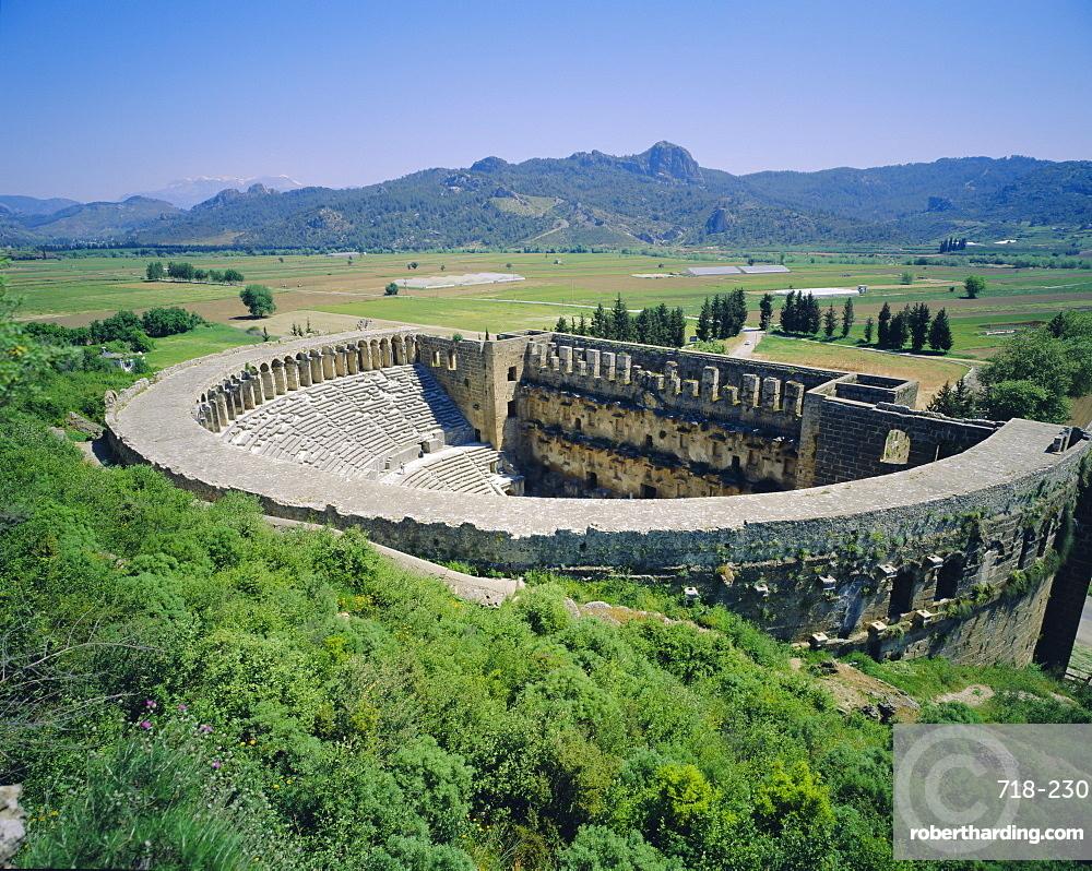 View of Roman Amphitheatre of Aspendos, ancient ruins, Aspendos, Turkey, Europe