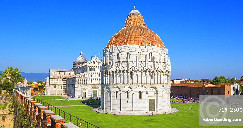 Baptistery and Cathedral view from Pisa defensive walls, UNESCO World Heritage Site, Pisa, Tuscany, Italy, Europe