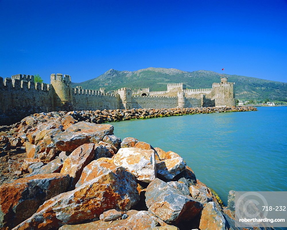Walls and towers of 'Mamure Kalesi' touching the Meditteranean Sea, Anamur, Turkey