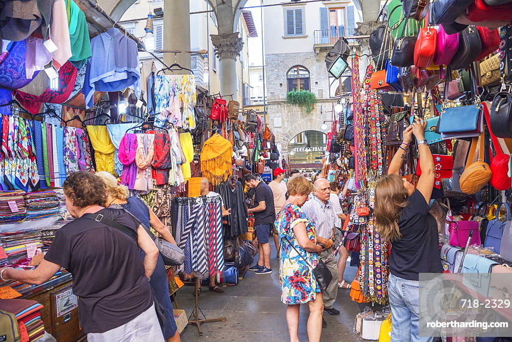 Customers shopping at Mercato Nuovo in Florence, Tuscany, Italy, Europe