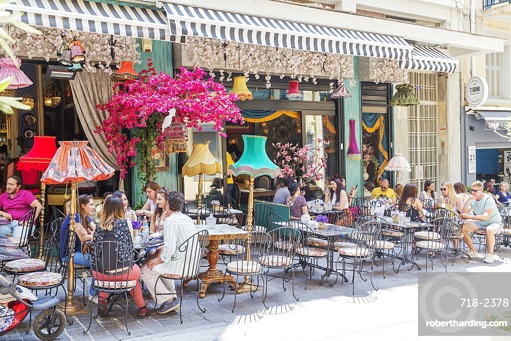 Bar and cafe terraces in Plaka district, Athens, Greece, Europe
