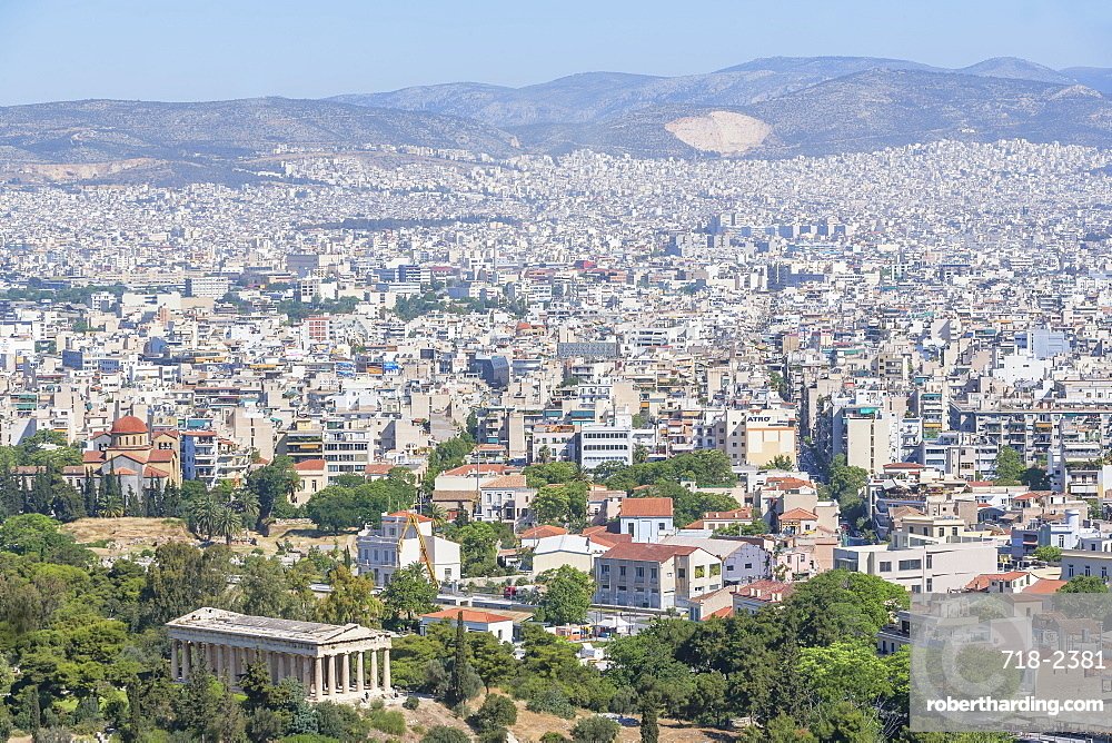 Elevated view of Temple of Hephaestus and the city of Athens, Athens, Greece, Europe
