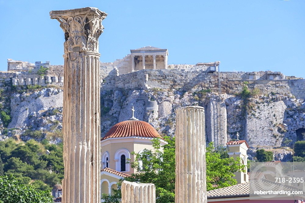 Acropolis including Library of Hadrian columns, Athens, Greece, Europe
