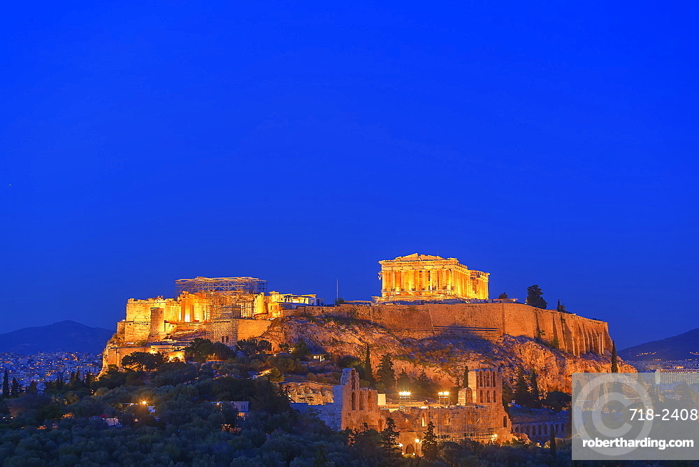 The Acropolis illuminated by floodlight, UNESCO World Heritage Site, Athens, Greece, Europe
