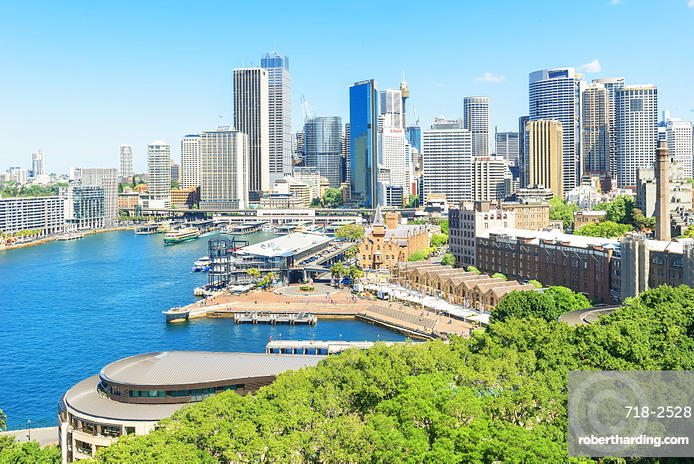 Elevated view of Circular Quay, The Rocks and Central Business District, Sydney, New South Wales, Australia, Pacific