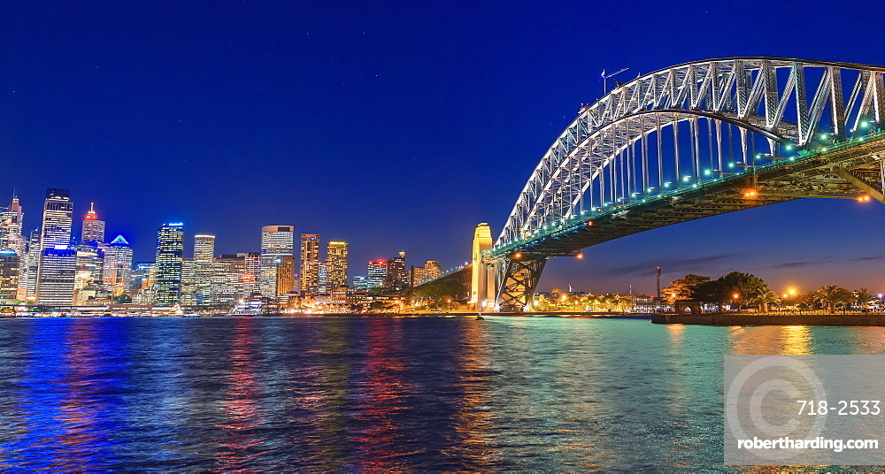 View of Harbour Bridge and Central Business District skyline, Sydney, New South Wales, Australia,