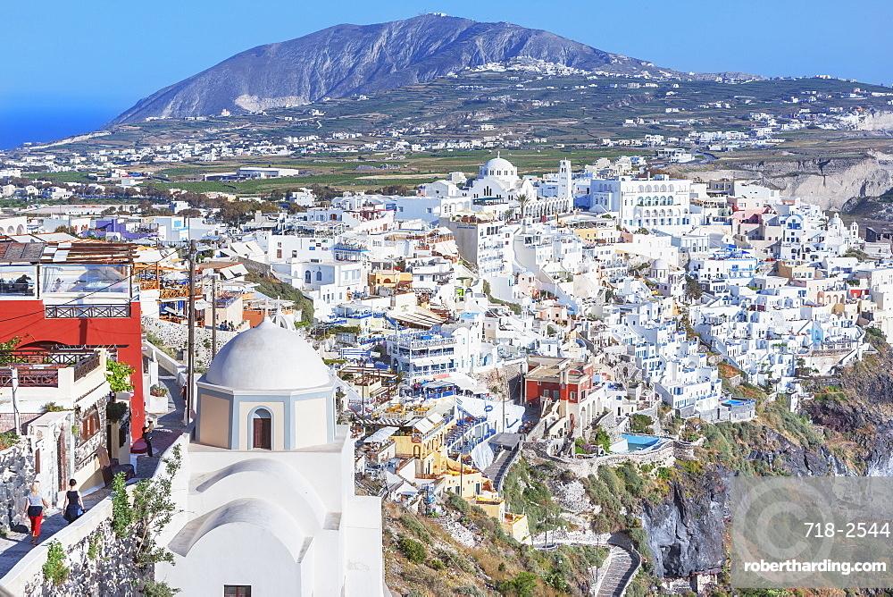 Thira, elevated view, Santorini, Cyclades Islands, Greece
