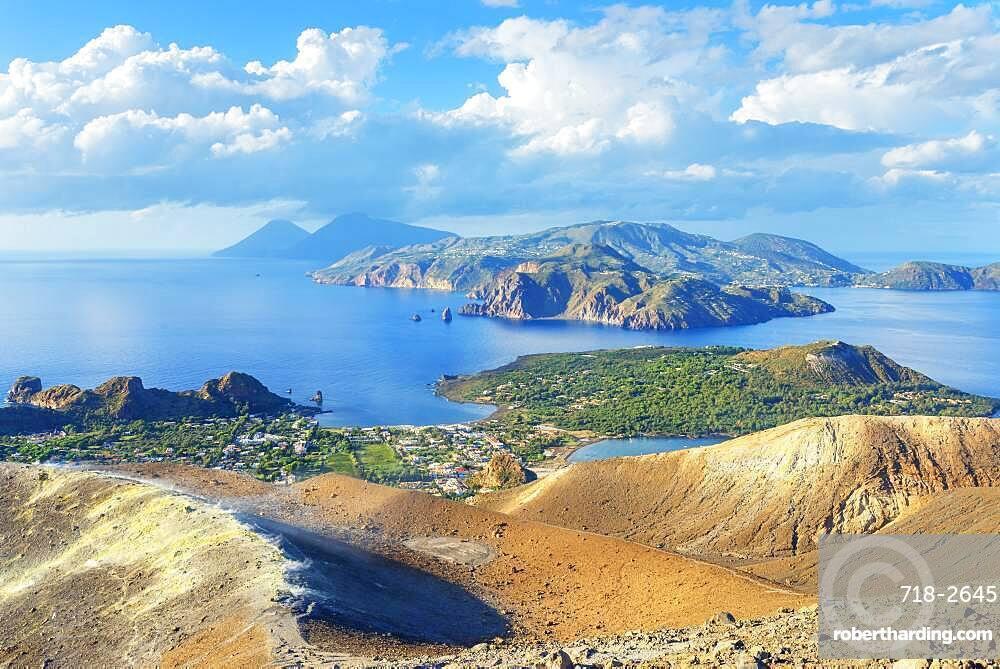 View of Aeolian Islands archipelago from Gran Cratere, Vulcano Island, Aeolian Islands, UNESCO World Heritage Site, Sicily, Italy, Mediterranean, Europe